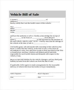 generic bill of sale generic bill of sale for car