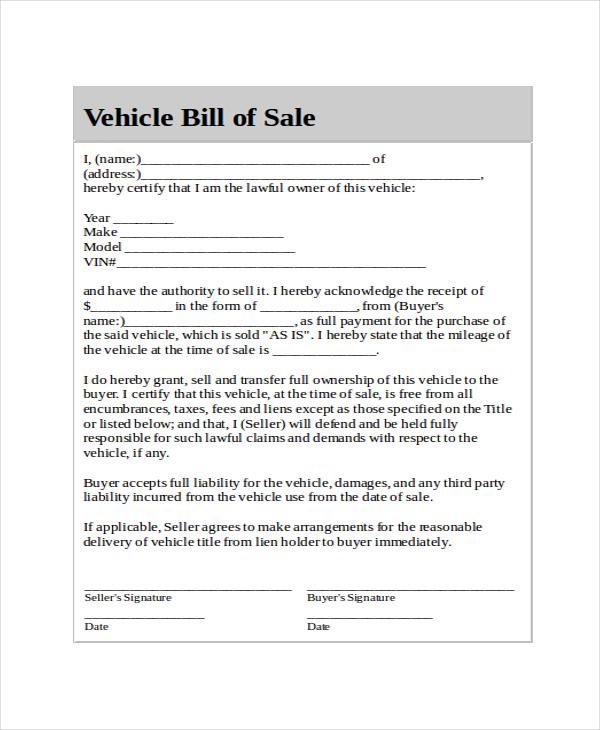 generic bill of sale