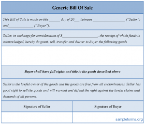 generic bill of sale generic bill of sale form