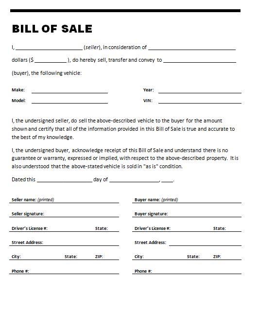 generic car bill of sale