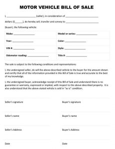 generic car bill of sale vehicle bill of sale template nxhwojv