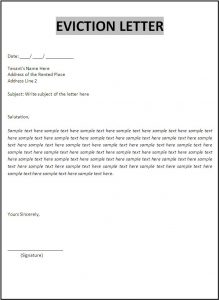generic credit application letter of eviction