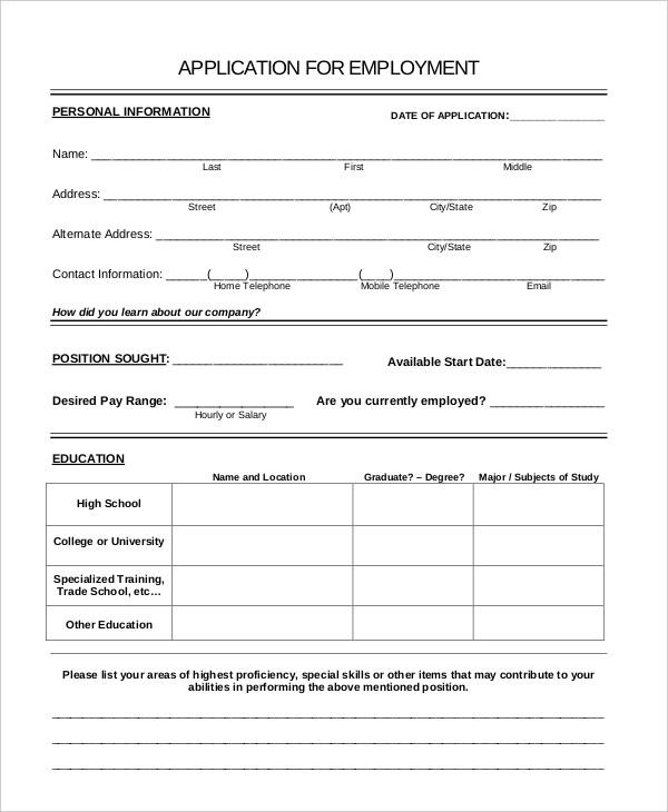 generic employment application
