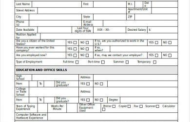 generic job application generic employment job application