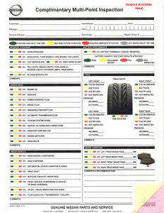 generic vehicle bill of sale multi point inspection forms nissan lg id imp