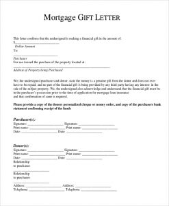 gift letter for mortgage mortgage gift letter
