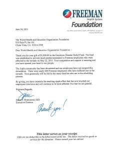 giving donation letter freeman thank you letter for donation