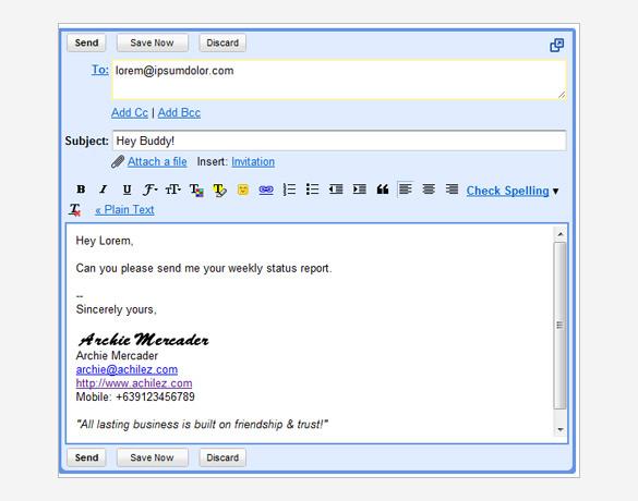 gmail signature template