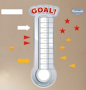 goal thermometer template fathead dry erase goal thermometer