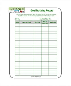 goal tracker template goal tracking record free pdf format download