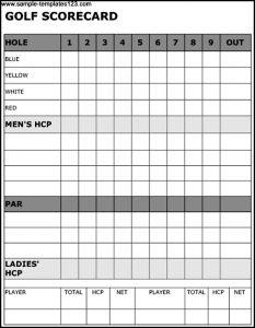 golf scorecard template golf scorecard template
