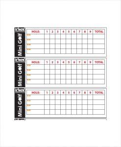 golf scorecard template mini golf scorecard