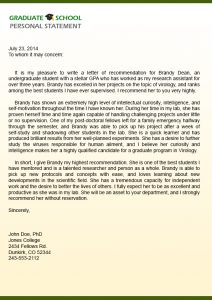 grad school letter of recommendation graduate school letter of recommendation sample