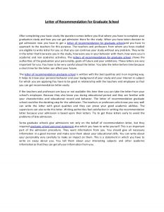 grad school letter of recommendation letter of recommendation for graduate school