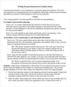 grad school personal statement graduate school personal statement format