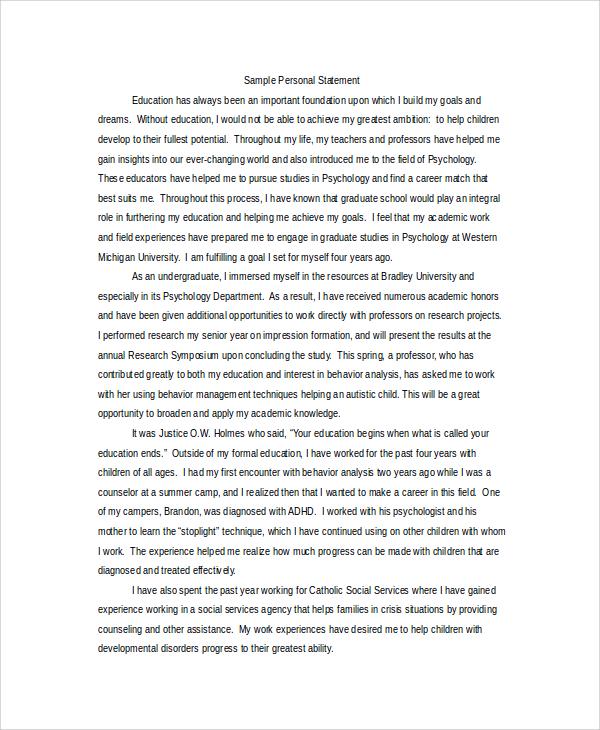 grad school personal statement
