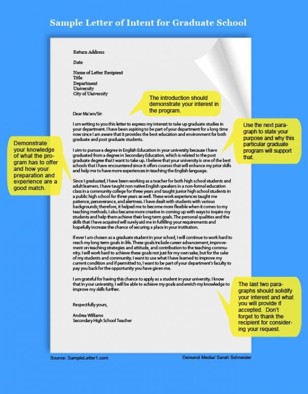 graduate school letter of intent