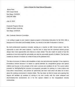 graduate school letter of intent letter of intent grad school education template word format