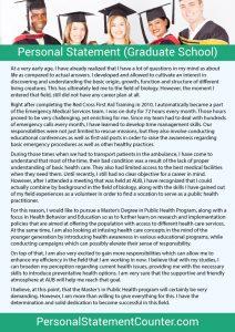 graduate school personal statement personal statement graduate school