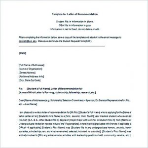 graduate school recommendation letter letter of recommendation template word