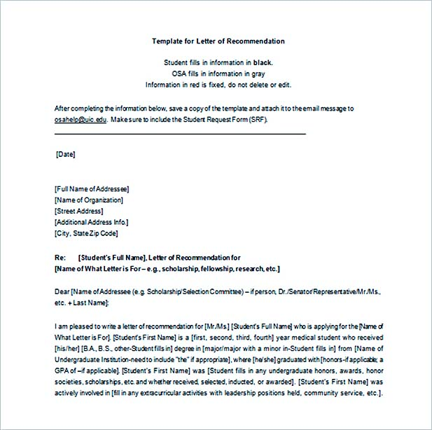 graduate school recommendation letter