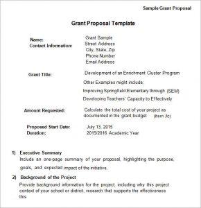 grant proposal template sample grant proposal template