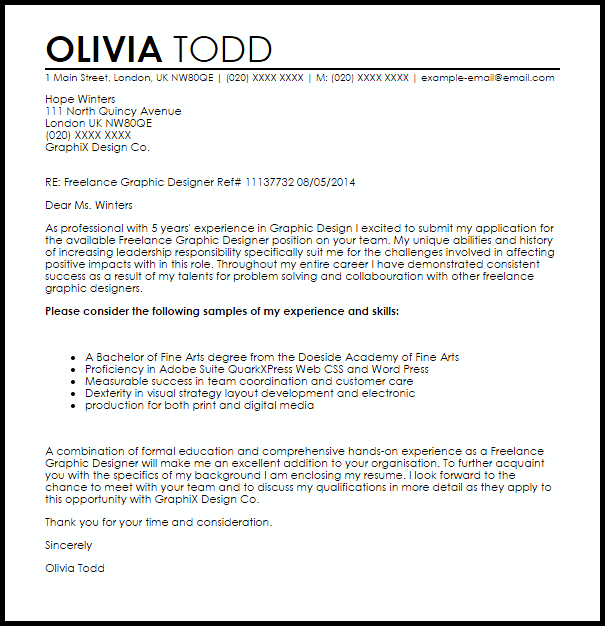 Graphic Design Cover Letter Sample | Template Business