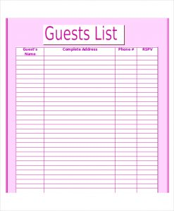guest list template editable wedding guest list template in word