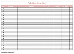 guest list template guest list template image