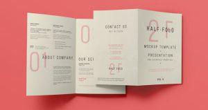 half fold brochure template half bi fold template presentation mockup brand psd