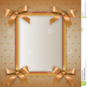 happy birthday card template background bow cream frame white vertical text gold ribbons bows corners dots stars template birthday