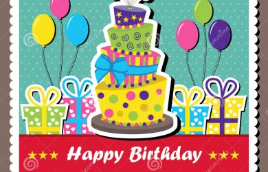 happy birthday card template scrapbook elements vector illustration birthday card topsy turvey cake