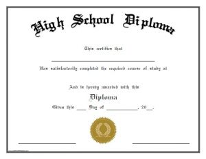high school diploma template free printable high school diploma
