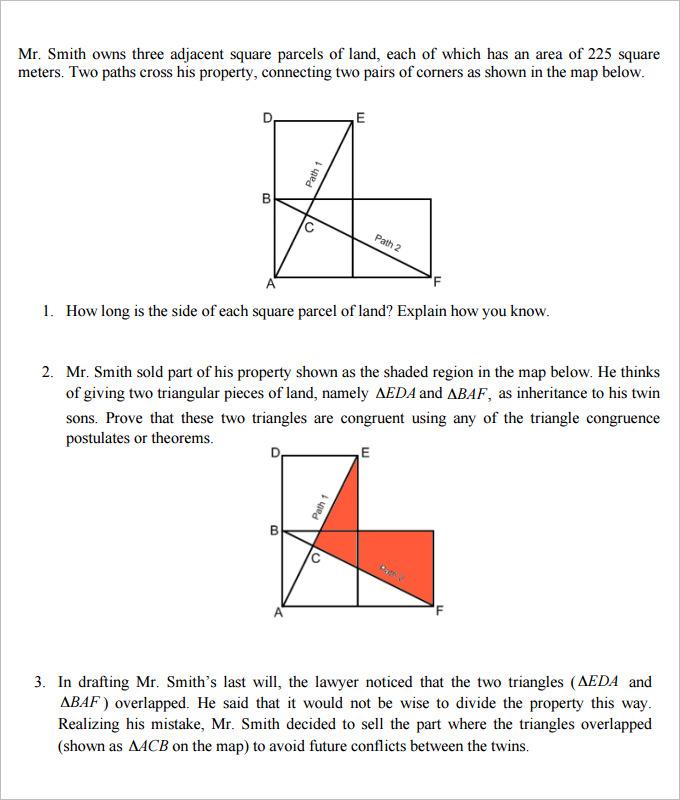 high school geometry worksheets