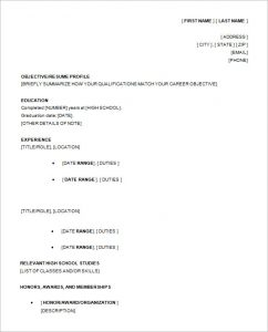 high school resume samples resume template for high school student
