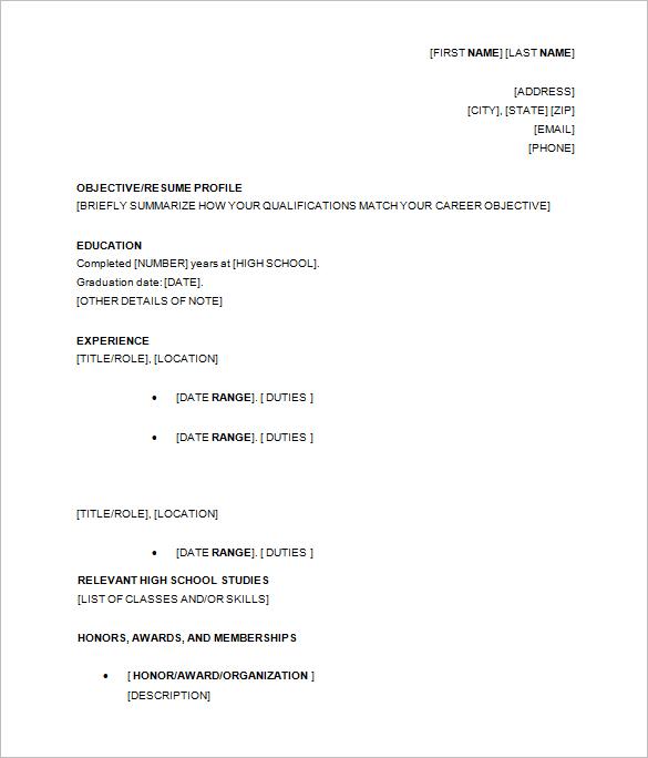 high school student resume template