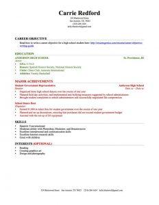 high schooler resume high school resume education