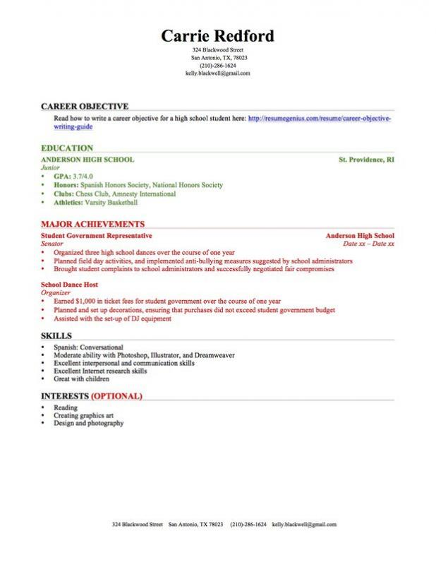 high schooler resume