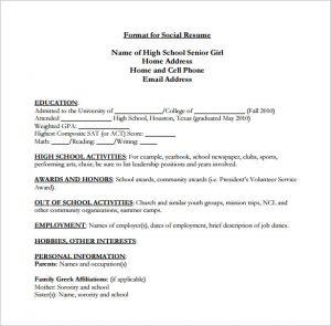 high schooler resume high school senior resume pdf free download