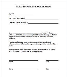 hold harmless agreement sample free hold harmless agreement pdf