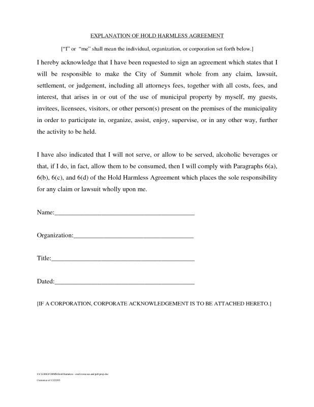 hold harmless agreement sample