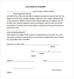 hold harmless form generic hold harmless agreement