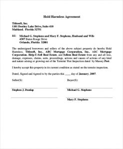 hold harmless form hold harmless agreement real estate