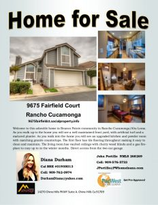 home for sale flyer diana durham rancho cucamonga home for sale flyer