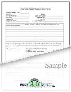 home improvement contract home improvement contract