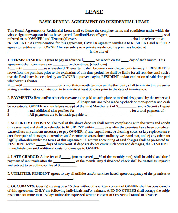 Home Lease Agreement | Template Business