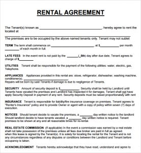 home lease agreement rental agreement template