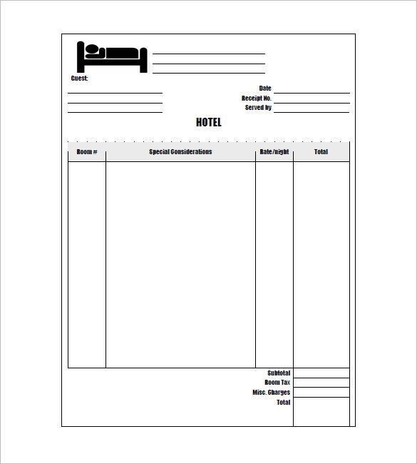 hotel receipt template
