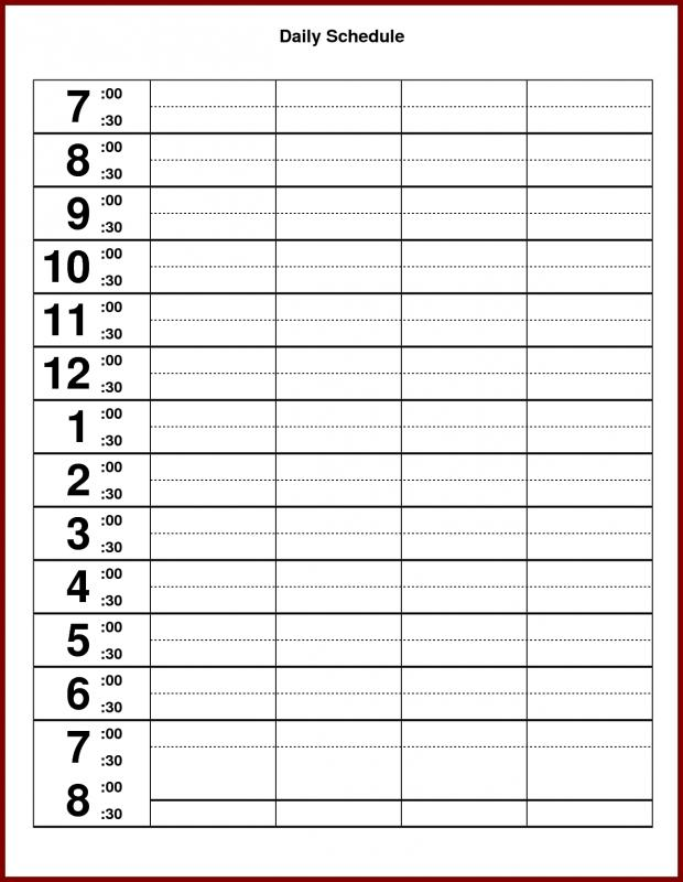 It's just a photo of Impertinent Printable Hourly Schedule