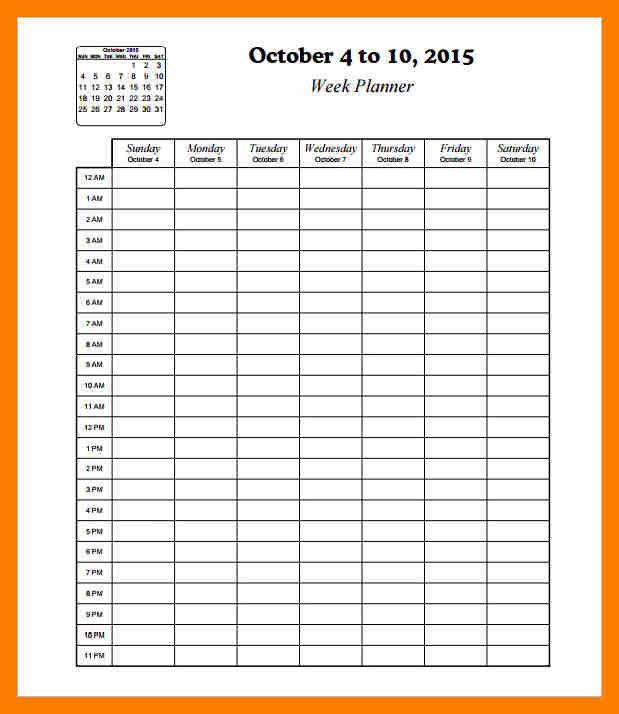 It is an image of Ambitious Printable Hourly Schedule